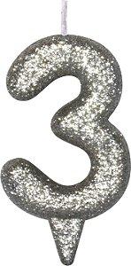 Vela de Aniversário Siba Número 3 Shine Cor Prata com Glitter Unidade