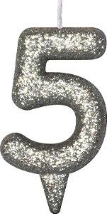Vela de Aniversário Siba Número 5 Shine Cor Prata com Glitter Unidade