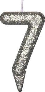 Vela de Aniversário Siba Número 7 Shine Cor Prata com Glitter Unidade