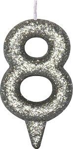 Vela de Aniversário Siba Número 8 Shine Cor Prata com Glitter Unidade
