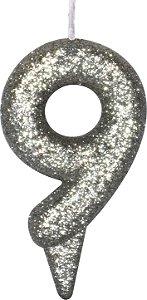 Vela de Aniversário Siba Número 9 Shine Cor Prata com Glitter Unidade