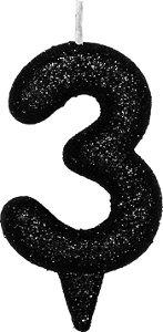 Vela de Aniversário Siba Número 3 Shine Cor Preta com Glitter Unidade