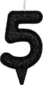 Vela de Aniversário Siba Número 5 Shine Cor Preta com Glitter Unidade