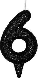 Vela de Aniversário Siba Número 6 Shine Cor Preta com Glitter Unidade