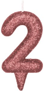 Vela de Aniversário Siba Número 2 Shine Cor Rose com Glitter Unidade