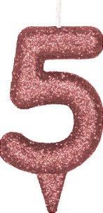 Vela de Aniversário Siba Número 5 Shine Cor Rose com Glitter Unidade