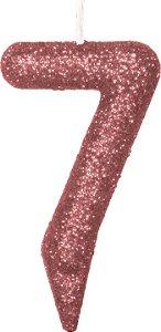 Vela de Aniversário Siba Número 7 Shine Cor Rose com Glitter Unidade