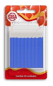 Vela de Aniverário Palito Lisa 6 Cm Altura Siba Pacote Com 20 Unidades Cor Azul