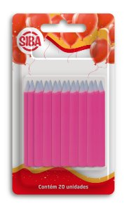 Vela de Aniverário Palito Lisa 6 Cm Altura Siba Pacote Com 20 Unidades Cor Rosa