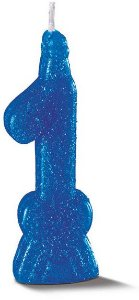 Vela de Aniversário Siba Número 1 Pop Cor Azul com Glitter Unidade