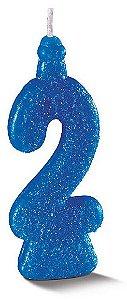 Vela de Aniversário Siba Número 2 Pop Cor Azul com Glitter Unidade