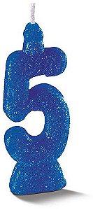 Vela de Aniversário Siba Número 5 Pop Cor Azul com Glitter Unidade