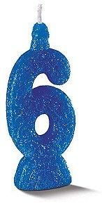 Vela de Aniversário Siba Número 6 Pop Cor Azul com Glitter Unidade