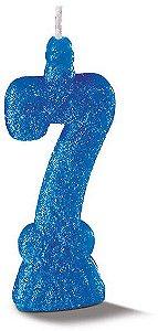 Vela de Aniversário Siba Número 7 Pop Cor Azul com Glitter Unidade