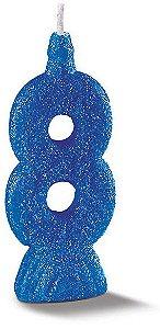Vela de Aniversário Siba Número 8 Pop Cor Azul com Glitter Unidade