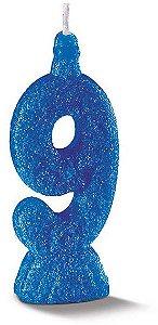 Vela de Aniversário Siba Número 9 Pop Cor Azul com Glitter Unidade