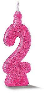 Vela de Aniversário Siba Número 2 Pop Cor Rosa com Glitter Unidade