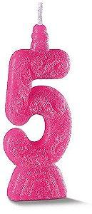 Vela de Aniversário Siba Número 5 Pop Cor Rosa com Glitter Unidade