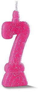 Vela de Aniversário Siba Número 7 Pop Cor Rosa com Glitter Unidade