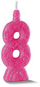 Vela de Aniversário Siba Número 8 Pop Cor Rosa com Glitter Unidade