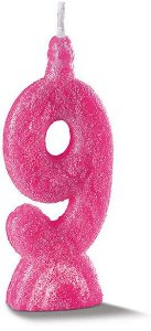 Vela de Aniversário Siba Número 9 Pop Cor Rosa com Glitter Unidade