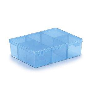 Caixa Plástica Com 6 Divisórias Cor Azul Transparente 12cm x 9,5cm x 3cm Unidade