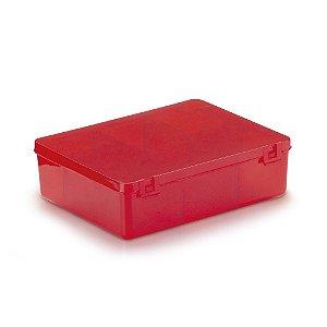 Caixa Plástica Com 6 Divisórias Cor Vermelho Transparente 12cm x 9,5cm x 3cm Unidade
