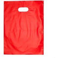 Sacola Plástica Alça Boca de Palhaço Cor Vermelha 25cm x 35cm Pacote Com 10