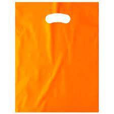 Sacola Plástica Alça Boca de Palhaço Cor Laranja 20cm x 30cm Pacote Com 10