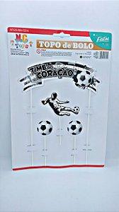 Topo de Bolo Nc Toys Time do Coração - Cores Preto e Branco Botafogo e Vasco Composto por 1 Topo Principal 24cm + 3 Decorações Menores 10cm R.9620