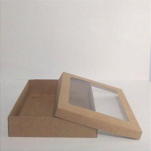 Caixa Duplex Kraft Com Visor Em Acetato Transparente Para Presente Tamanho Extra P 21,5cm Comprimento x 21,5cm Largura x 5,5cm Altura R.4152 Unidade