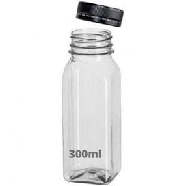 Garrafa Plástica Cristal Translúcida 300ml Quadrada Com Tampa Com Cores Sortidas Com Lacre Unidade