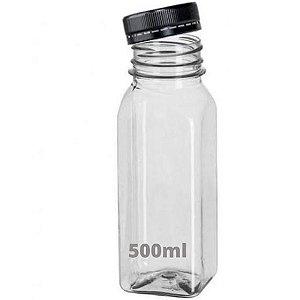 Garrafa Plástica Cristal Translúcida 500ml Quadrada Com Tampa Com Cores Sortidas Com Lacre Unidade