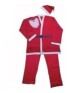 Roupa De Papai Noel Em Feltro Adulto Tamanho Único Kit (Barba, Casaco, Calça, Cinto e Gorro) R.NTG1601 Kit