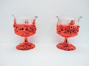 Castiçal com Suporte de Vidro Decorativo e Vela Cor Sortida Decorativa ( dourado, prata ou vermelho) 6,4cm Largura x 8,5cm Altura Caixa Com 2 Unidades