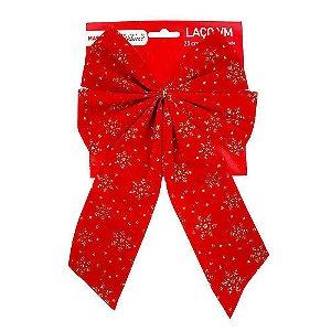 Enfeite Natal Laço Em Tecido Aveludado Vermelho Com Detalhes em Griltter Dourado 20cm Comprimento R.B-008 Unidade