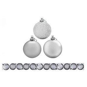 Enfeite Bolas De Natal de Plástico Mista (fosca/ lisa/ glitter) 5cm Cor Prata R.TD009A-3PR Kit com 12 Bolas Decorativas