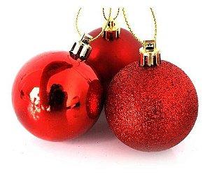 Enfeite Bolas De Natal de Plástico Mista (fosca/ lisa/ glitter) 5cm Cor Vermelha R.TD009A-1VM Kit Com 12 Bolas Decorativas