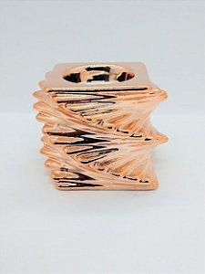 Enfeite Castiçal de Cerâmica Decorativo Cor Sortida ( rose, dourado ou prata) 9cm x 9cm x 6cm Altura R.BX8311 Unidade