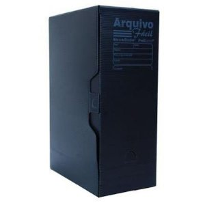 Caixa Arquivo Morto Fácil Novaonda Polibrás Preta 350mm x 130mm x 250mm Unidade