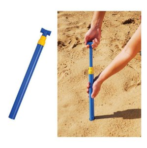 Saca Areia Com Pressão para Guarda Sol Mor Cor Azul Com Amarelo 46cm x 4,7cm x 3,5cm Unidade