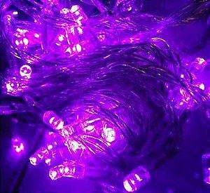 Pisca Pisca Natal Cordão Sequencial  Com 100 Leds Cor Violeta 8 Funções Fio Transparente 10 Metros Comprimento 127V R.15077 Unidade