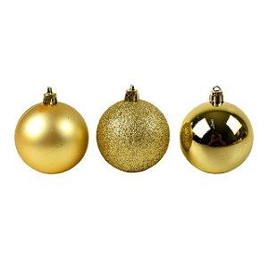 Enfeite Bolas de Natal de Plástico Mista (fosca/ lisa/ glitter) 5cm Dourada R.TD009A/TD009A-2DR Kit com 12 Bolas Decorativas