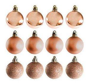 Enfeite Bolas De Natal de Plástico Mista (fosca/ lisa/ glitter) 5cm Champanhe R.KX9687 Kit com 12 Bolas Decorativas