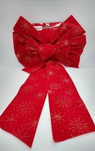 Enfeite Laço de Natal Decorativo em Tecido Aveludado Cor Vermelho Detalhes em Glitter Dourado 58cm Comprimento x 27 Largura R.WF8802 Unidade