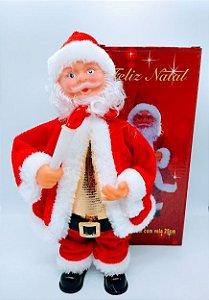 Enfeite Decorativo Papai Noel Natal Musical 25cm Altura Com Vela R.BR2102 Unidade