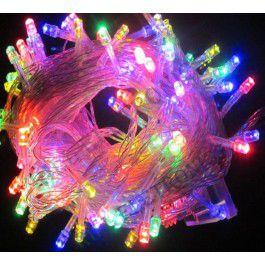 Pisca Pisca Natal Cordão Sequencial Com 100 Leds Coloridos 8 Funções Fio Transparente 10 Metros Comprimento 127V R.15100 Unidade