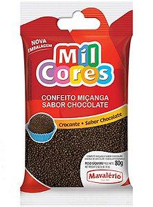 Confeito para Doces Mavalério Miçanga Chocolate Mil Cores 80 Gramas R.04760 Unidade
