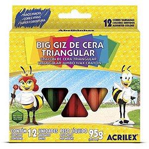 Giz de Cera Acrilex Gizão Triangular 95 Gramas R.09312 Com 12 Cores