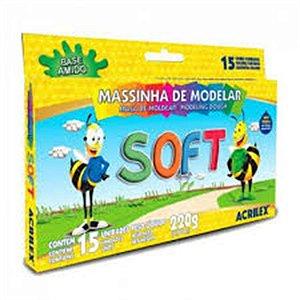 Massinha de Modelar Acrilex Soft 180 Gramas R.07312 Com 12 Cores